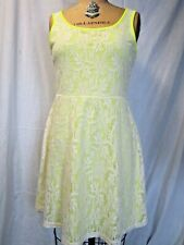 Bobbie brooks Party Dress size M Lace over Yellow Sleeveless Spring Summer