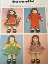 SEWING PATTERN Jean Greenhowe Best Dressed Doll Rag Doll with Clothes 43cm Tall