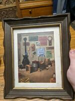 ANTIQUE-VTG PICTURE FRAME CARVED WOOD GOLD BLACK GLASS PRINT 9.5X7.5,12X20