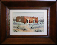 Southwestern Adobe and Sage, Original Miniature Watercolor by Vivian Ashcraft