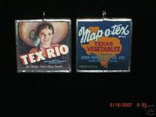 TEXAS FRUIT CRATE LABELS ART GLASS PENDANT