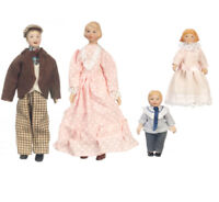 Dollhouse Miniature 1:12 Scale Charming Porcelain Doll Family Set of 4