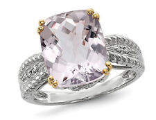 Amethyst Ring & Diamonds 4.77 ct in Sterling Silver