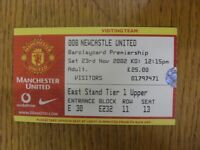 23/11/2002 Ticket: Manchester United v Newcastle United  (folded). Footy Progs/B