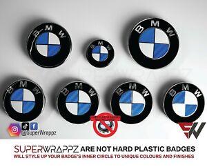 BLUE CARBON HALF FOR BMW Badge Emblem Overlay Sticker HOOD RIMS FITS ALL BMW