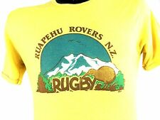 Vintage Rugby shirt 1970s New Zealand Boho Hippie Nature Punk 70s Tee Yellow