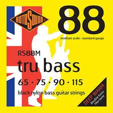ROTOSOUND RS88M BLACK NYLON BASS STRINGS, MEDIUM SCALE, STANDARD 4's - - 65-115