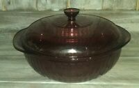 Corning Ware Pyrex Cranberry 2 Ltr Covered Casserole #024 w/624-C Lid