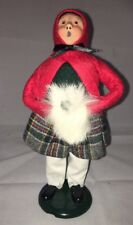 Vintage Byers Choice 1989 Woman Caroler Red Cape White Muff Christmas
