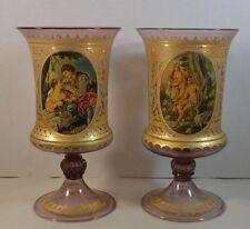Pair of Antique Venetian Painted Neoclassical Gilt Glass Vases