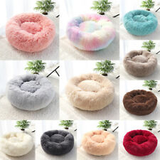 Small Large Dog Cat Calming Bed Fluffy Plush Donut Pet Sleep Nest Kennel Mat Pad