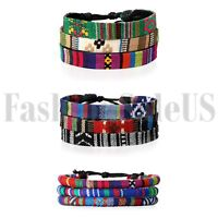 3 Set Men Women Mix Wrap Hemp Tribal Leather Beaded Cuff Wristband Bracelet 9pcs