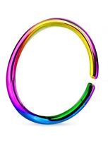 Rainbow Titanium Anodized Stainless Steel Nose Ring Hoop 8mm 22 Gauge