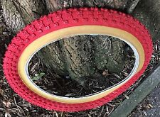 """Comp III 3 16"""" Red with amber wall tyre bmx bike x2 (pair) Raleigh Burner"""