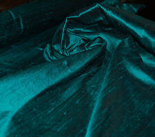 100% Natural Silk Dupioni Fabric Teal Blue Green Quality Luxurious BY THE YARD