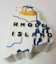 Rhode Island State Shaped Ceramic Salt/Pepper Shaker Vintage   3 in.