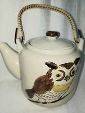 Vintage owl bird Japanese Teapot with Bamboo Handle Made in Japan