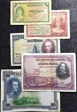 1928-1935 Espana Spain 5,10,25,50 &100 Pesetas Banknote F (+FREE 1 B/note)#D3705