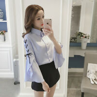 Women's Korean Tops Casual Lace Up Long Sleeve Oversize Slim Blouse Shirt