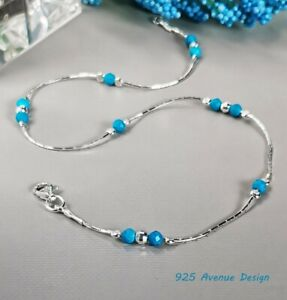 ANKLET blue faceted TURQUOISE 925 Sterling Silver Chain Summer Ankle Bracelet
