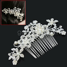 Peigne à Cheveux Bijoux Perles Strass Cristal Argenté Mariage Joli accessoire