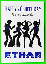 PERSONALISED 21st Birthday Card (Disco) BOY MALE FRIEND SON COUSIN GRANDSON