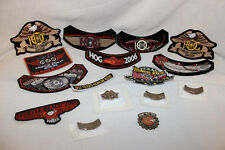 LOT OF 16 HARLEY DAVIDSON HOG MOTORCYCLE PATCHES AND PINS