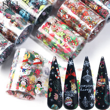 10Pcs Nail Foils Transfer Stickers Decals Christmas Flower Nail Art Starry Paper