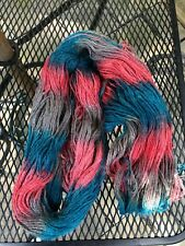 NEW Skein Alpaca Wool Hand Painted Pink Blue Sport Yarn 150g