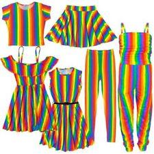 Kids Girls Rainbow Crop Top T Shirt Legging Off Shoulder Skater Dress 5-13 Years