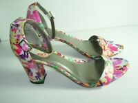 WOMENS PINK WHITE PURPLE ANKLE STRAP WEDDING SANDALS HIGH HEELS SHOES SIZE 10 M