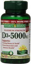 Nature's Bounty Vitamin D-5000 IU Softgels, Maximum Strength 150 ea (Pack of 2)