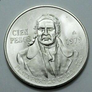 1979 UNC MEXICO CIEN 100 PESOS PLATA PURA LEY .720 SILVER Large COIN, UNGRADED