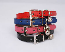 Designer Leather Cat Collar with Safety elastic and bell - International Postage
