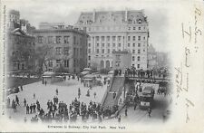 Entrance to Subway, City Hall Park New York City NYC vintage postcard not used