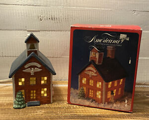 Vintage 1991 Americana Porcelain Light Up School House Collectible In Box