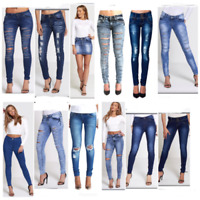 WOMEN LADIES STRETCH RIPPED HIGH WASTED SLIM FIT SKINNY DENIM JEANS SIZE UK