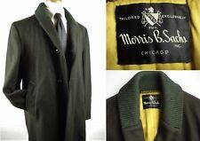 Vintage Shawl Collar Melton Wool Quilted Lining Coat Jacket Dark Green sz 40