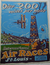 PLAQUE METAL PUBLICITAIRE USA avion vintage AIR RACES ST LOUIS - 41 X 32 CM
