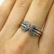 Signed 925 Sterling Silver Real Marcasite Gem Letter X Initial Ring Size 7.5