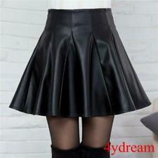 Ladies Womens PU Leather Skater Mini Skirts Short Pleated Skirts A-Style Black