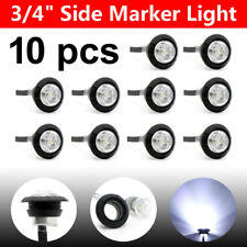 """10X 3/4"""" White Diode LED Bullet Truck Trailer Clearance Light Round Side Marker"""