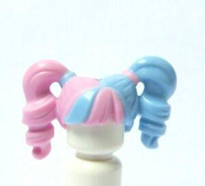 Lego Female Girl Minifigure Figure Hair Wig  Pink Blue Twin Ponytail