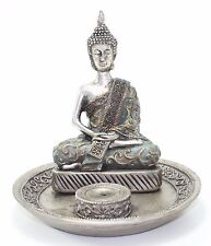 """Feng Shui 6"""" Thai Earth Touching Meditating Silver Buddha Statues Incense Holder"""