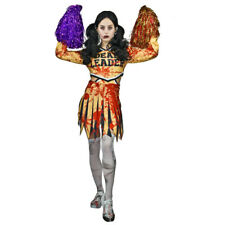 Zombie Cheerleader Girls Fancy Dress Costume with Pair of Black Pompoms
