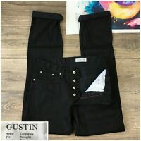 Rare! Gustin #327 Jet Black Selvedge Twill Size 33x35 Jeans Pants made in USA