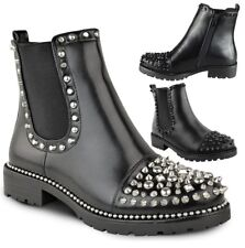 New Womens Ladies Studded Goth Zip Ankle Boots Gusset Chelsea Chunky Punk Size