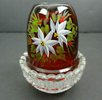 Mosser Ruby Red Hand Painted Flower Vintage Fairy Lamp