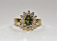 Color Changing GIA Certified 1.56tcw Alexandrite & Diamond 14kt Yellow Gold Ring