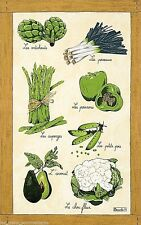 BEAUVILLE, LEGUMES VERTS (GREEN VEGETABLES) FRENCH KITCHEN / TEA TOWEL NEW